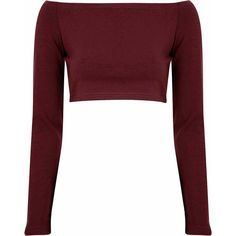 Burgundy Long Sleeve Bardot Crop Top ($21) ❤ liked on Polyvore featuring tops, crop tops, shirts, clothes - tops, burgundy, polyester shirt, white crop top, off shoulder tops, crop top and long sleeve tops