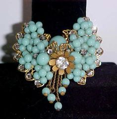 MIRIAM HASKELL 1930's Wired BEADED FILIGREE PIN BROOCH Turquoise DANGLES