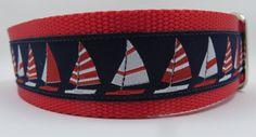 Sailboats 1.5 adjustable dog collar ribbon by WagSwagPetSupplies