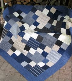 Quilt - Lap Quilt, Sofa Quilt, Quilted Throw - Moda Wool and Needle Flannel Quilt - Man Quilt - Winter Warmer Quilt by QuiltsintheCity on Etsy