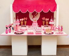 Kara's parties ice cream barbie party, like the idea of the table built for setup w/ canopy
