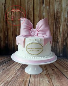 PINK BOW CHRISTENING CAKE by Agatha Rogowska ( Cakefield Avenue)