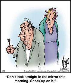 The older I get, the more I relate. Herman by Jim Unger Haha Funny, Funny Cute, Funny Jokes, Hilarious, Funny Stuff, Herman Cartoon, Herman Comic, Cartoon Jokes, Funny Cartoons