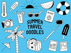 Summer Doodle, Travel Doodle, Summer Clipart, Travel Clipart, Vacation Clipart, Summer Clip Art, Vacation Doodle,Summer Vector,Travel Vector  This listing is for a clipart set of 16 digitally hand drawn birthday design elements. Can be used digitally or in print. Cutting in small size (for example 1-3) is not recommended because of the small details!  Perfect for invitation design, scrapbooking, cardmaking, stickers, announcement cards, blogs, digital stamps, greeting cards, web design…