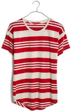 Red perfect slouchy tee that can be easily mixed and remixed with just about everything in your closet. Women's Madewell Whisper Jared Stripe Tee