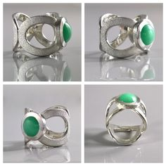 """Stardust"" Argentium sterling silver & Chrysoprase ring Soon available at http://www.annukkajewelrydesign.com"