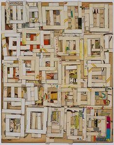 'One Eye' (2010) by American artist Lance Letscher (b.1962). Collage on board. via Tayloe Piggott Gallery