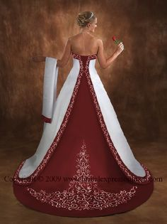 burgundy and white wedding dresses, what if the white detail was gold and somewhere/somehow add a splash of blue