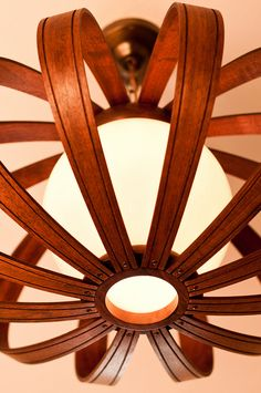 Gahhhhh love.  Danish Modern bent wood ceiling fixture marked Feldman Co. Los Angeles, CA