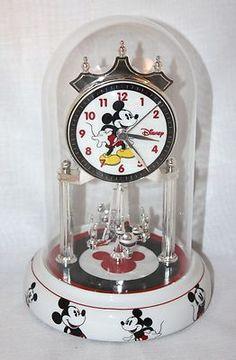 Vintage Mickey Mouse Disneyana Glass Dome Pendulum Clock