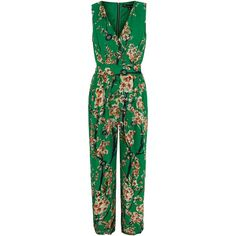 Yumi Green Oriental Floral Print Jumpsuit ($65) ❤ liked on Polyvore featuring jumpsuits, green, women, summer jumpsuits, floral print jumpsuit, green jumpsuit, cocktail jumpsuit and jump suit