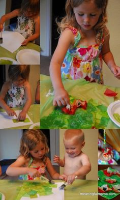 Tissue Paper Monet Poppy Collages - Meaningfulmama.com
