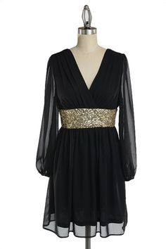 Roman Holiday Long Sleeve Sequin Dress - Black + Gold - $57.00 | Daily Chic Dresses | International Shipping