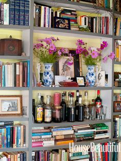 bar on bookcase