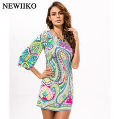 Fashion women s Summer Ethnic style Sexy inclined shoulder Strapless  irregular printing Contrast Color Beach style dress a0e2ea76dbb9