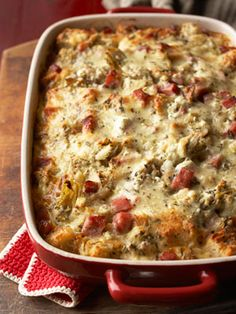Goat Cheese Artichoke and Smoked Ham Strata