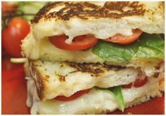Tomato Basil Grilled Cheese, this is already my favorite, but if you use Havarti cheese and drizzle honey on it, it is EXTRA yum!