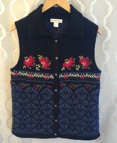 Christopher & Banks Womens Holiday Festive Sweater Vest Size Medium M Holly #ChristopherBanks