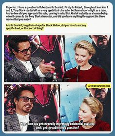 I agree with Scarlett. How is it that they perform the same job, but she gets a question on her diet? Why can't she answer a question about how her character has changed her perspective of her life?