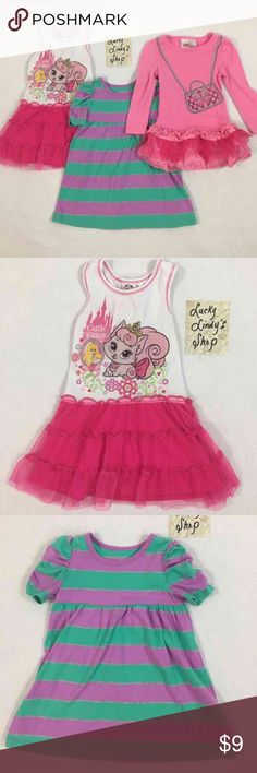 2T Dress Bundle (3 Dresses) Includes Disney White Tank Tutu Dress with Princess Kitty, Okie Dokie Purple/Teal Striped Dress and Beauties Pink Long Sleeve Tutu Purse Tunic. Good used condition - no stains, tears or holes.   2T Dress Bundle. Disney Dresses Casual