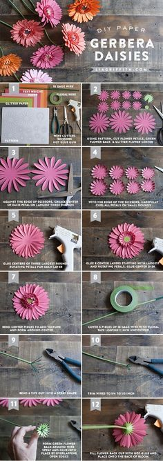 Tutorial to create paper gerbera daisies. Gerbera is a perfect flower to use at weddings. Step-by-step tutorial for Gerbera daisies Crepe Paper Flowers, Felt Flowers, Diy Flowers, Fabric Flowers, Flower Paper, Paper Flower Making, Tissue Paper Flowers Easy, Zipper Flowers, Flower Lamp