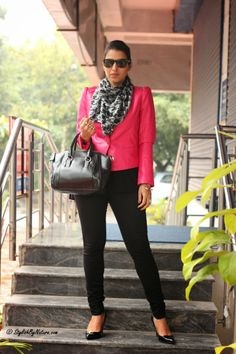 #Pink #Hot #fashion #style #Zara #Leather #Jacket #Women #bag #houndstooth #scarf #fall #winter