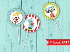 Circus Birthday Cupcake Picks / Toppers / Favor Tags / Printable Party Decorations - DIY - Red, Aqua Blue, & Yellow - Elephant and monkey - Big Top Tent - Boys Birthday Ideas - Circus theme ideas - Etsy.com