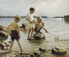 Albert Edelfelt - Boys Playing on the Shore   (4001×3326)