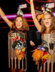 Amber Langford and Annie Collinge, two 19-year-old students from Chester University, dressed up as the 9/11 twin towers for Halloween. | Two British Students Dressed As The 9/11 Twin Towers For Halloween