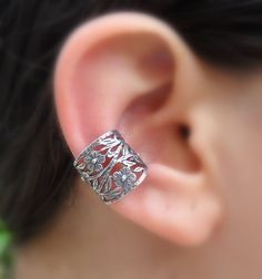 Sterling Silver Handcrafted Flower Textured Ear Cuff Hoop Earring Cartilage/catchless/helix