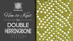 How to Knit the Double Herringbone Mesh Stitch/This stitch creates a delicate zig zag pattern with lots of texture. The double herringbone mesh stitch would be great for sweaters, scarves, and cowls! Lace Knitting Patterns, Knitting Stiches, Knitting Videos, Crochet Videos, Lace Patterns, Loom Knitting, Crochet Stitches, Stitch Patterns, Knit Crochet
