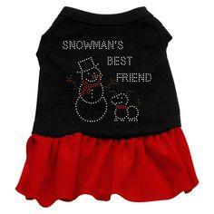 Snowman's Best Friend Rhinestone Dress Black with Red XXXL (20)