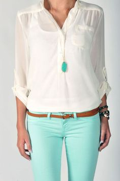 love it - mint pants, brown skinny belt, white button up, and mint necklace
