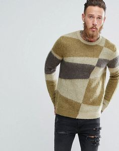ASOS Mohair Wool Blend Sweater With Blocked Design - Green