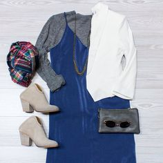 Either//Or Switch and swap different items to create different looks shop www.shopelysian.com for inspiration! Multi Chain Necklace $52 in-store only  The Rose & Crown Scarf in Navy $22. online  in-store. Clueless In Silk $49. online  in-store. My Grandpas Sweater in Heather Gray $54. Online  in-store. Pearly White Blazer $54. Online  in-store. Crossbody Clutch $28. In store only. @quayaustralia Electric Dreams Sunnies in Rose Gold $46. In store only. Must Have Mule Bootie in Heather $89.99…