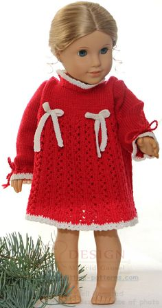 18 inch doll knitting patterns - get your doll ready for christmas, in a lovely red dress American Girl Outfits, All American Girl, American Girl Crochet, Crochet Doll Dress, Knitted Dolls, Crochet Hats, Knitting Dolls Clothes, Doll Clothes, Handarbeit