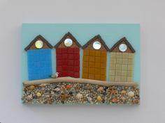 Colourful Beach Huts Mosaic Wall Art  by Rana Cullimore  www.ranacullimore.co.uk