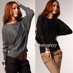 Good ItS7 Women Crew Neck Loose Batwing Long Sleeve T-Shirt Knitting Sweater New in Clothes, Shoes & Accessories, Women's Clothing, Tops & Shirts | eBay