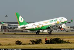 Eva Air (TW) Airbus A330-203 B-16309 aircraft, painted in ''Hello Kitty'' special colours Oct. 2006 - Jan 2007, (1st version),  skating at Taiwan Taipei Taoyuan International Airport. 21/10/2006.