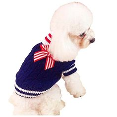 FunPets New Navy Bow-knot Dog Cat Sweater for Small dog Two Color Pet Supplies Clothes Winter Apparel Clothing Puppy (M, Blue) -- Read review @