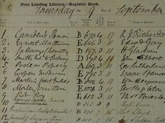 The first ever Registers of Borrowers listing the first ever books borrowed from Manchester Public Libraries, 9 Sep 1852.