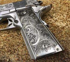 """Engraved grip details on this #JJFU Cisco """"Especial"""". I Really Love @chantal_schaschl_art_engraving Style. She just puts a Beautiful Art Nouveau/Victorian flare in it. Making it a """"timeless"""" firearm. 888-269-0666 JJamesFirearms@gmail.com www.JJFU.com"""