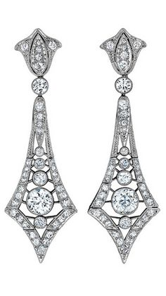 Marcus & Co. Art Deco Diamond Pendant Earrings, Circa 1915-1920.