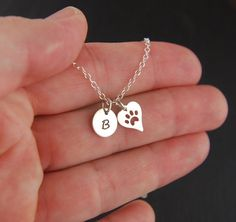 Small initial and heart shaped paw print charm by jersey608jewelry, $34.00