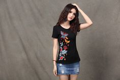 Black Short Sleeve Butterfly Embroidery Full Color T Shirt on Etsy, $32.00