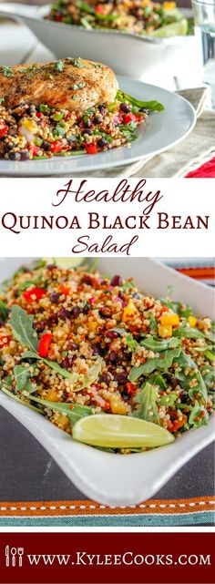 Healthy Quinoa & Black Bean Salad with a touch of spice, and a ton of flavor. Make ahead for a great lunch or dinner! via @kyleecooks