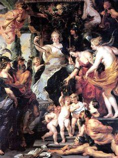 РУБЕНС ПИТЕР ПАУЭЛ. Счастье регентства.    Зиген (Вестфалия), 1577 — Антверпен, 1640   Аллегория счастливого регентства Марии Медичи. Холст, 394 х 295 см.
