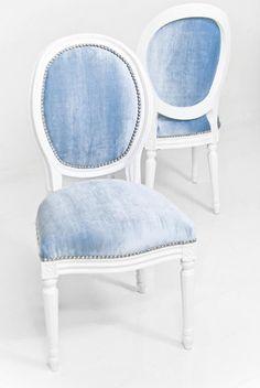 Louis Dining Chair in Trend Denim Velvet   ModShop