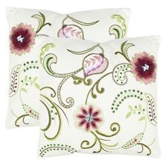 """Safavieh 2-Pack Bejeweled Stitched Floral Toss Pillows (18x18"""")"""