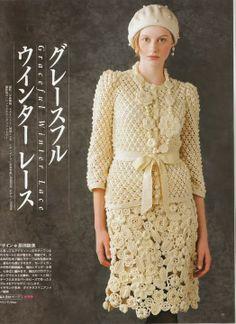 Beautiful beige set  ♥LCD♥ with diagram --- Patrones Crochet: Conjunto Chaqueta y Falda Patron